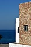 Huis op het eilandstrand van Rhodos Stock Afbeelding