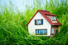 Huis op het groene gras Royalty-vrije Stock Afbeeldingen