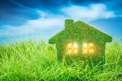 Huis op het groene gras Stock Afbeeldingen