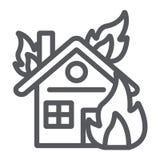 Huis op het pictogram van de brandlijn, brandwond en ongeval, brandend huisteken, vectorafbeeldingen, een lineair patroon op een  vector illustratie