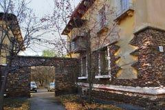 Huis op Mendeleev-Straat in Magnitogorsk-stad, Rusland stock foto