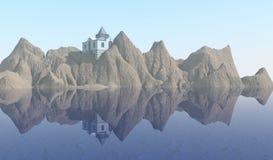 Huis op Onvruchtbaar Eiland vector illustratie