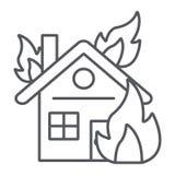 Huis op pictogram van de brand het dunne lijn, brandwond en ongeval, brandend huisteken, vectorafbeeldingen, een lineair patroon  vector illustratie