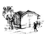 Huis op straat, vectorillustratie Royalty-vrije Stock Afbeelding