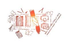 Huis planning, de bouwzaken, ingenieur en de punten van de van de van de cliënthanddruk, blauwdruk en kantoorbehoeften royalty-vrije illustratie