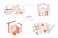 Huis planning, de controle van de bouwwerfveiligheid, architecturale projectgoedkeuring, bouwnijverheidsbanner vector illustratie