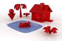 Huis, pool en familie stock illustratie