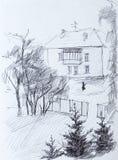 Huis, potloodtekening Royalty-vrije Stock Afbeelding