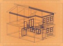Huis - Retro Blauwdruk royalty-vrije illustratie