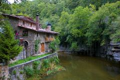 Huis in Rupit, Catalonië Royalty-vrije Stock Foto