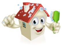 Huis schoonmakende mascotte Stock Foto's