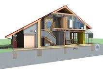 Huis in sectie stock illustratie