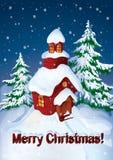 Huis in sneeuw Royalty-vrije Stock Afbeelding