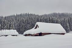 Huis in Sneeuw wordt behandeld die royalty-vrije stock foto