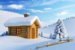 Huis in sneeuwberg royalty-vrije illustratie