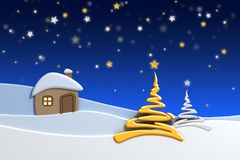 Huis in sneeuwberg Stock Fotografie