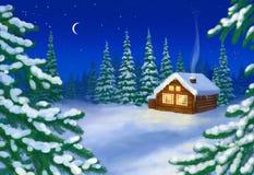 Huis in sneeuwbos royalty-vrije illustratie