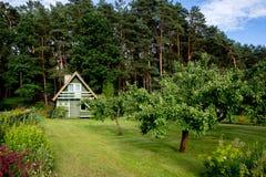 Huis in tuin Stock Foto