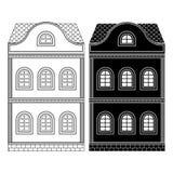 Huis Two-storey bouw Vlak zwarte en overzichtstekening Stock Foto's