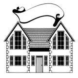Huis. uit de vrije hand tekening. pictogram Stock Illustratie