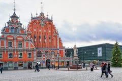 Huis van de Meeëters in een oude stad in Riga Royalty-vrije Stock Afbeeldingen