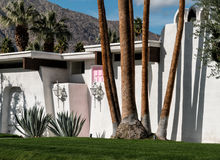 Huis van de Palm Springs het Roze Deur Royalty-vrije Stock Fotografie