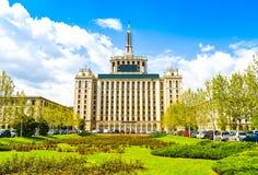 Huis van de Vrije Pers - is een gebouw in noordelijk Boekarest, Roemeni?, langst in de stad tussen 1956 en 2007 stock afbeelding