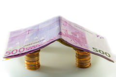 Huis van euro bankbiljetten Royalty-vrije Stock Foto