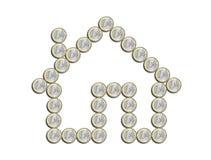 Huis van euro op een witte achtergrond Royalty-vrije Stock Foto