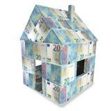 Huis van 20 euro rekeningen en een nieuw huis stock illustratie