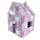 Huis van 500 Euro rekeningen wordt gemaakt die vector illustratie