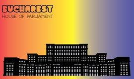 Huis van het Parlement, Boekarest, silhouet, vector Stock Afbeelding