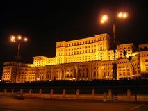 Huis van het Parlement - nacht, Boekarest, Roemenië Stock Fotografie