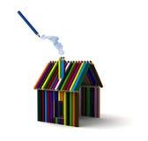 Huis van kleurpotloden Stock Afbeelding