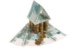 Huis van muntstukken op roebels Royalty-vrije Stock Foto's