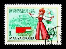 Huis van Sovjetwetenschap en Cultuur, Boedapest, 2de verjaardag, Stock Foto
