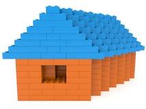 Huis van stuk speelgoed bakstenen op wit royalty-vrije illustratie