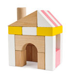 Huis van stuk speelgoed bouwstenen op wit worden geïsoleerd dat Royalty-vrije Stock Fotografie