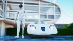 Huis van toekomst Futuristische vliegende auto met lopende vrouw het 3d teruggeven stock illustratie