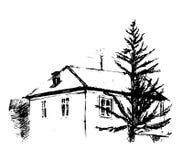 Huis, vectorillustratie Royalty-vrije Stock Fotografie