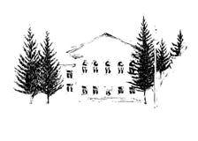 Huis, vectorillustratie Stock Afbeeldingen