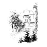 Huis, vectorillustratie Stock Foto's