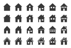 Huis vectorpictogram, glyph perfect ontwerppixel stock illustratie