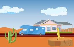 Huis in vlakke woestijn, weg en buss, Royalty-vrije Stock Foto's