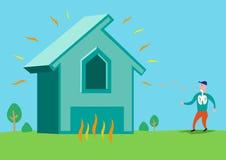 Huis in vlammen of met Asbest of Radonstraling Het art. van de Editableklem stock illustratie