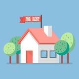 Huis voor huur vlak pictogram stock illustratie