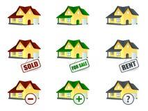 Huis voor verkoop en verkocht Royalty-vrije Stock Foto's