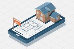 Huis voor verkoopconcept Isometrische Vectorillustratie Isometrische vectorlandgoedillustratie op de telefoon voor verkoop, voor royalty-vrije illustratie