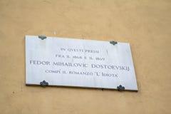 Huis waar geleefde Dostoevsky in Florence, Italië royalty-vrije stock fotografie