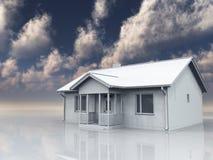 Huis in wit landschap Royalty-vrije Stock Foto's